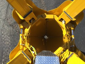 Top-down view of the blades on the Model 44 nursery digger